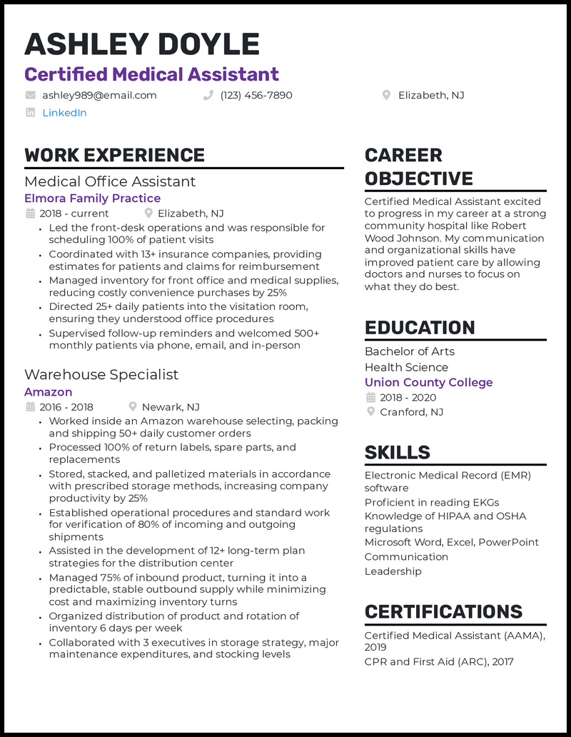 Entry level medical assistant resume example