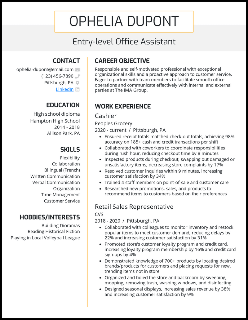 Entry Level Office Assistant resume example
