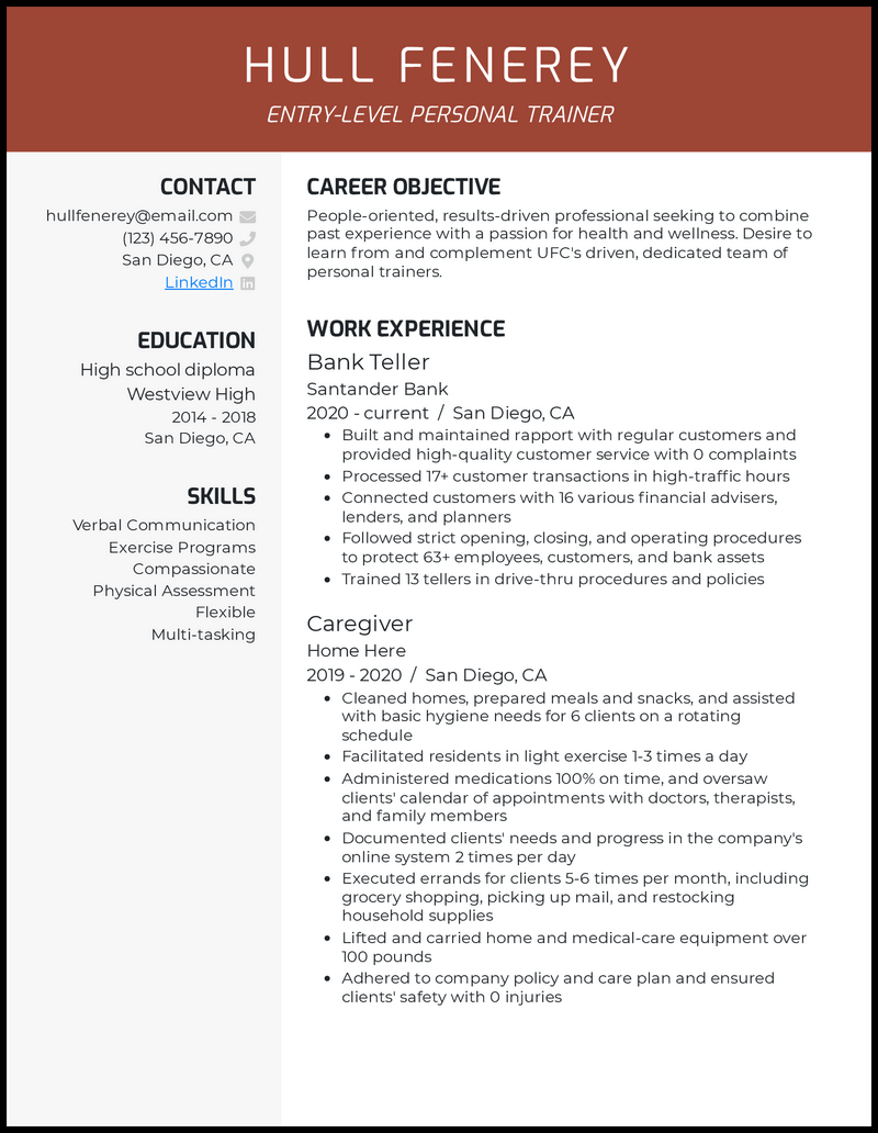 Entry Level Personal Trainer resume example
