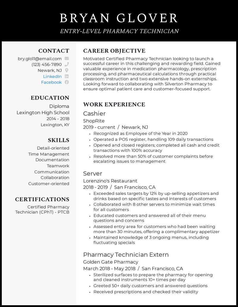 Entry Level Pharmacy Technician resume example