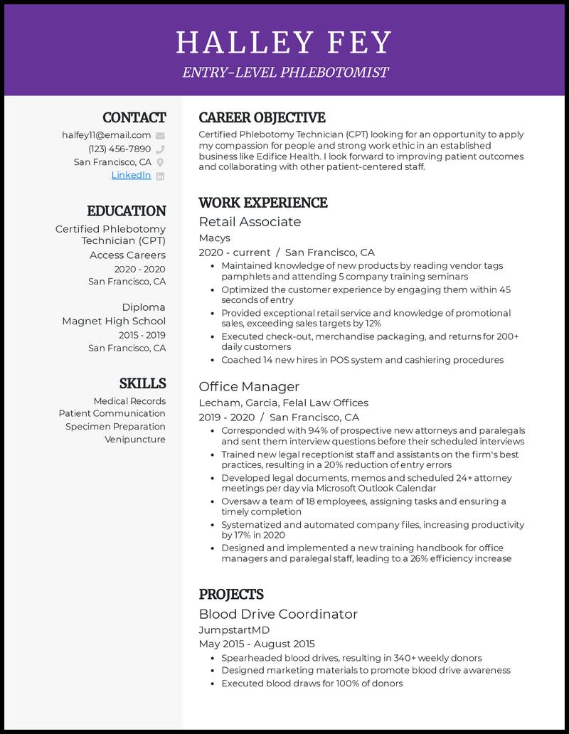 Entry Level Phlebotomist resume example