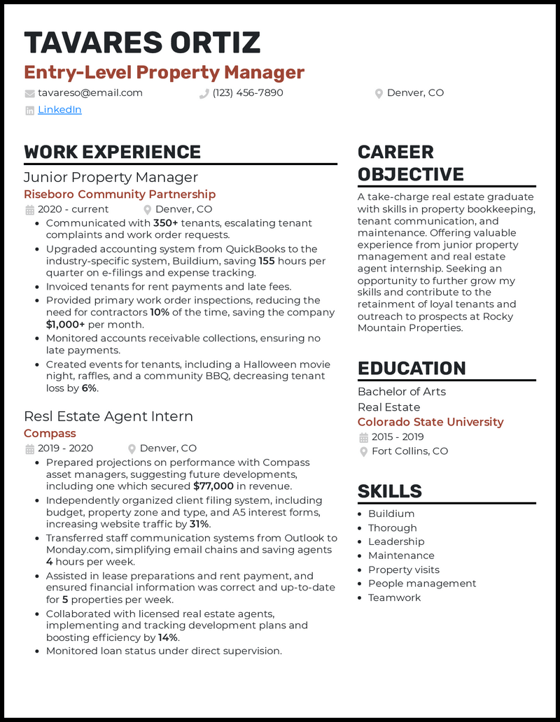 Entry Level Property Manager resume example