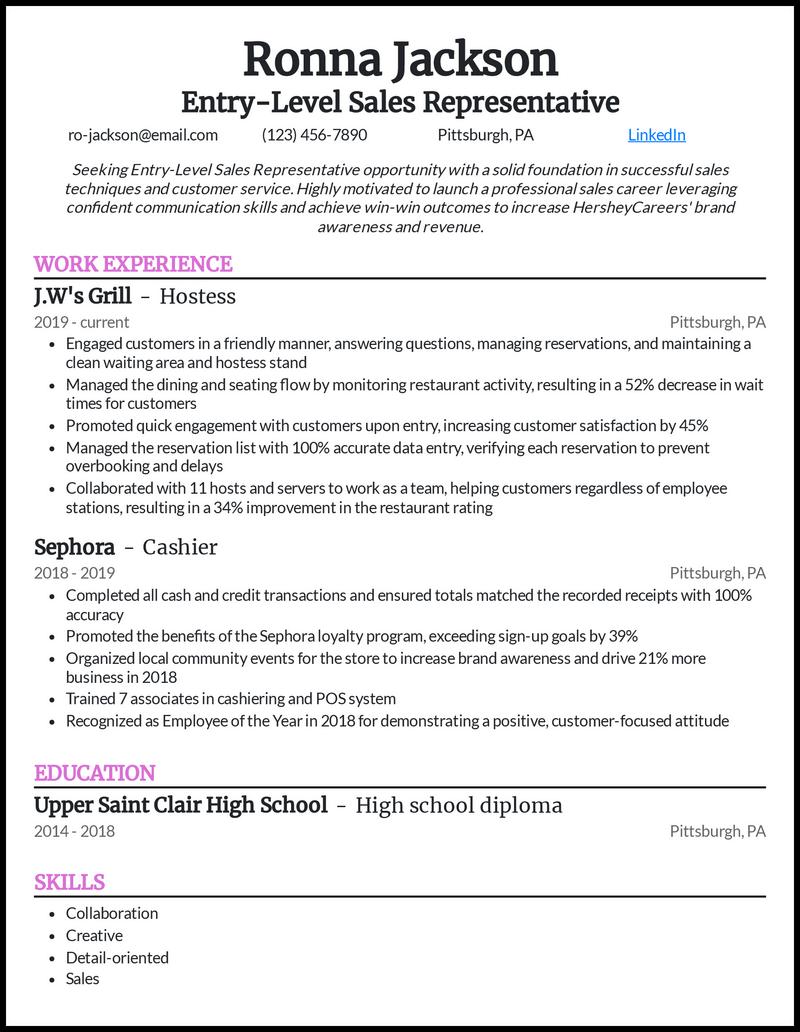 Entry Level Sales Representative resume example