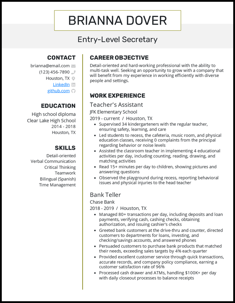 Entry Level Secretary resume example