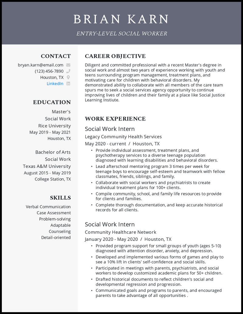 Entry Level Social Worker resume example