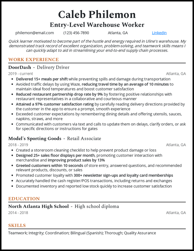 Entry Level Warehouse Worker resume example