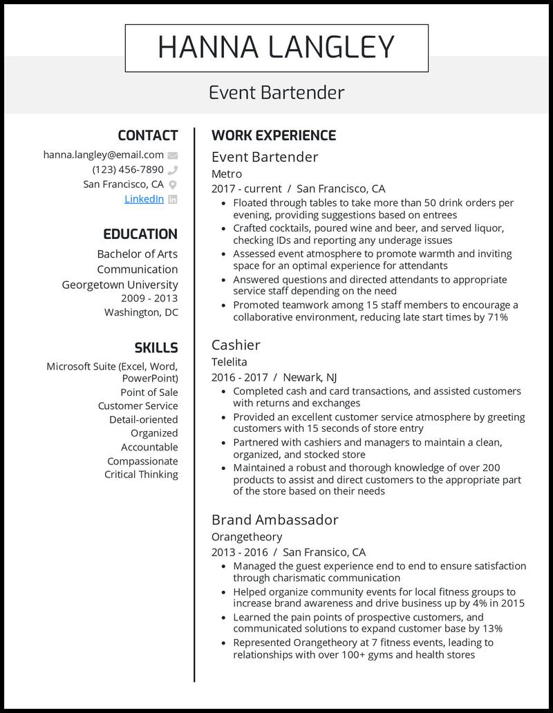 Event Bartender resume example