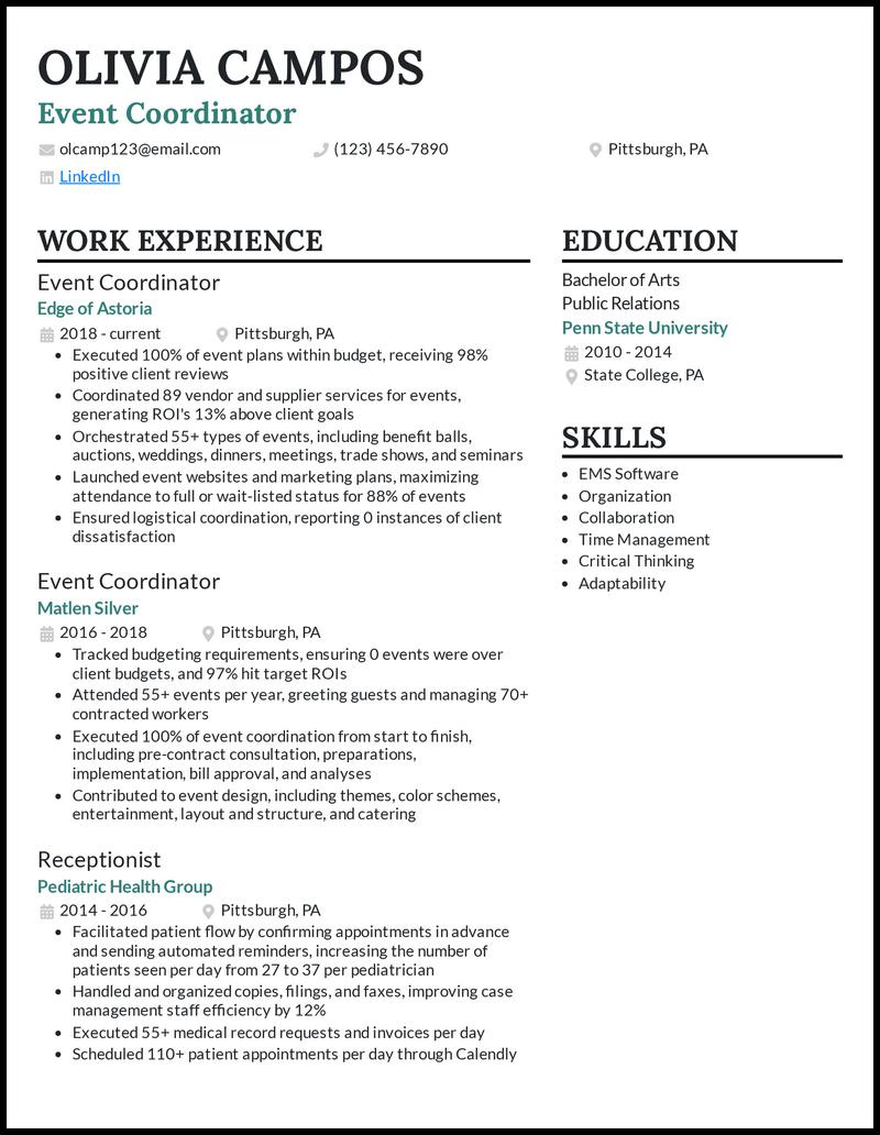 Event Coordinator resume example