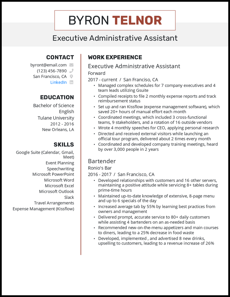 Executive Administrative Assistant resume example