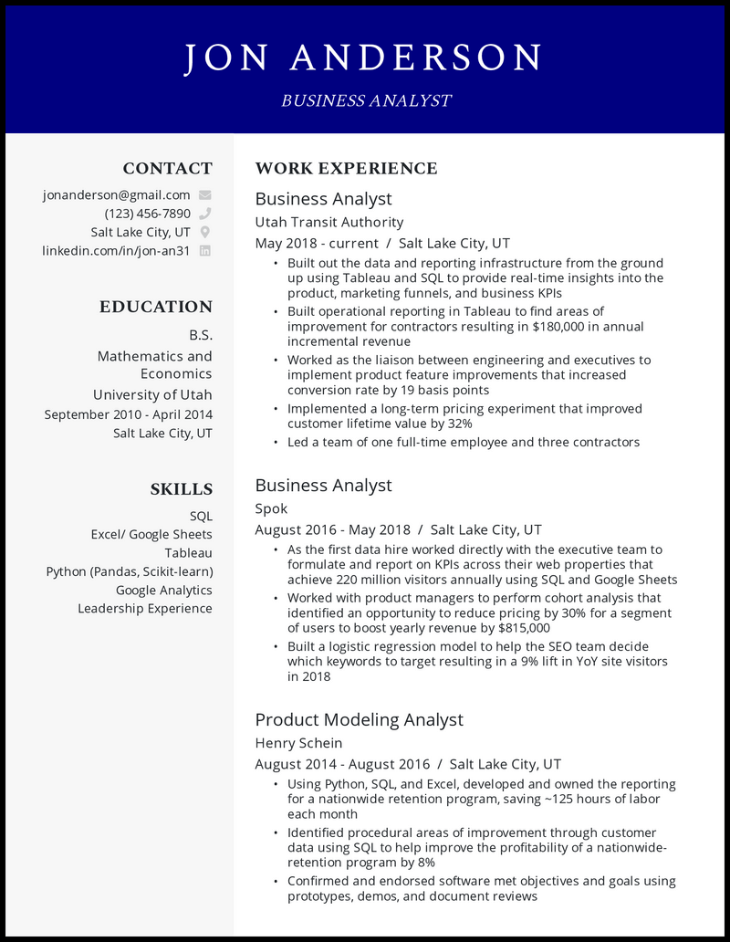 Experienced Business Analyst resume example