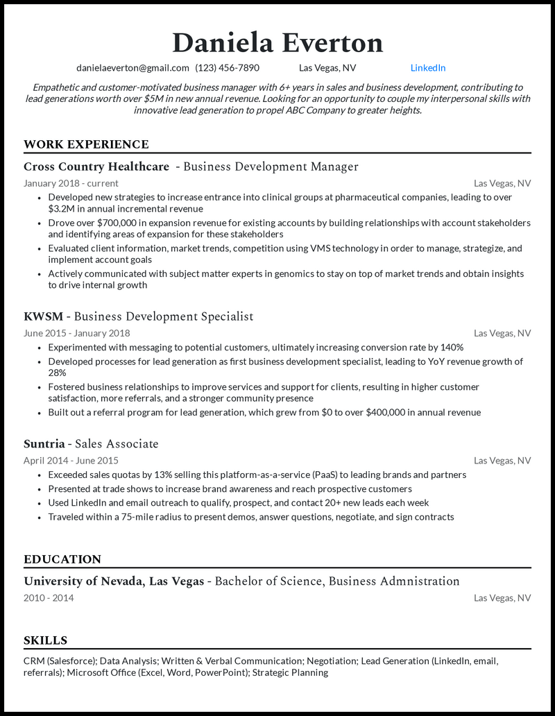 Experienced Business Development Manager resume example
