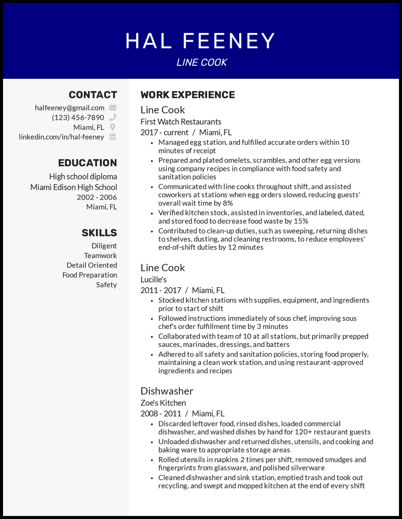 Experienced Line Cook resume example