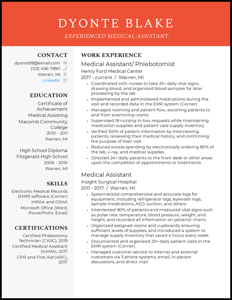 Experienced medical assistant resume example