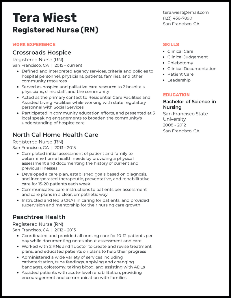 Experienced RN resume example