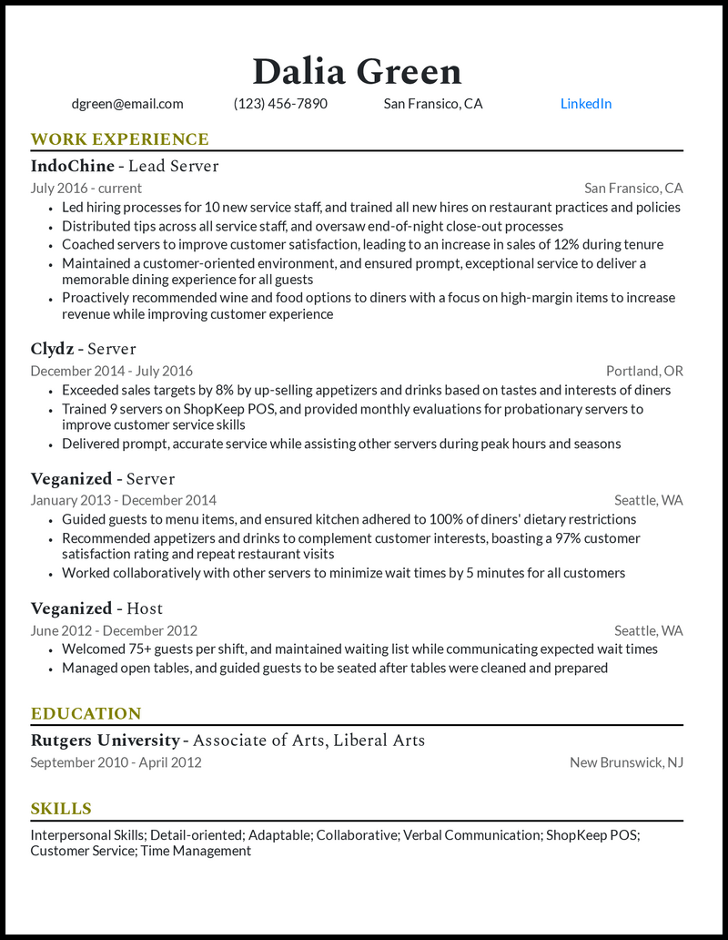 Experienced server resume example