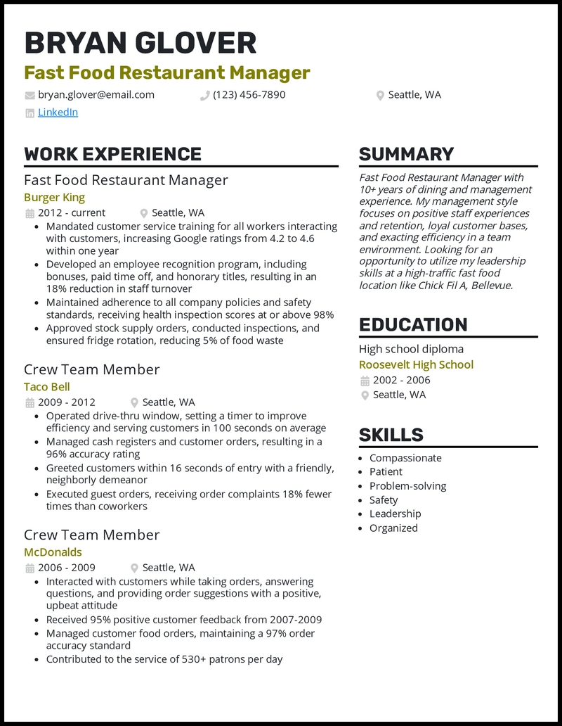 Fast Food Restaurant Manager resume example