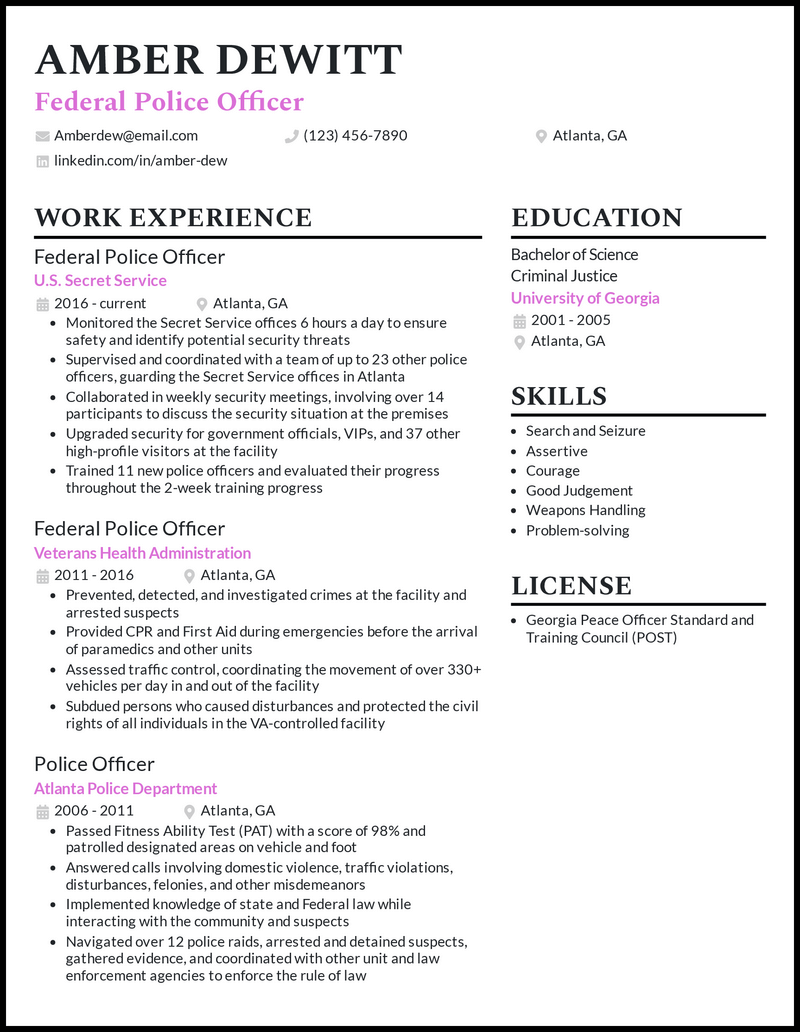 Federal Police Officer resume example