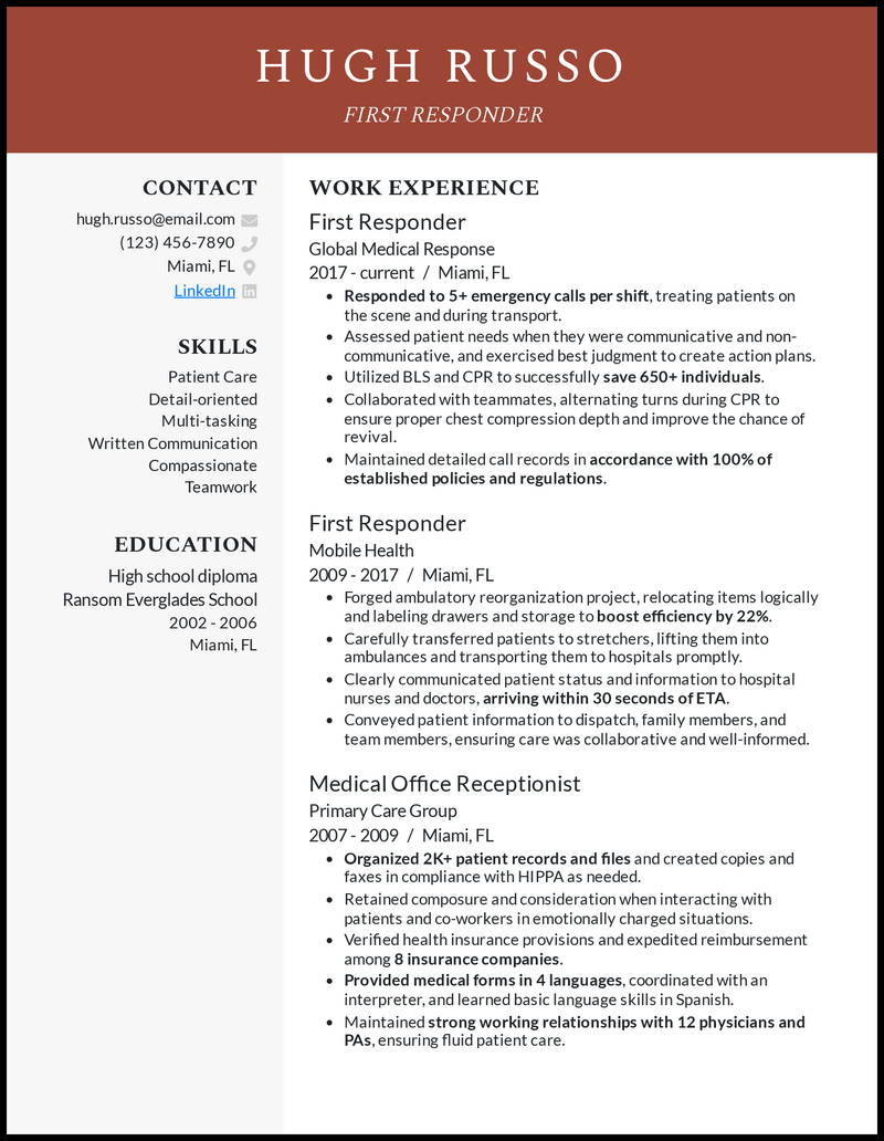 First Responder resume example