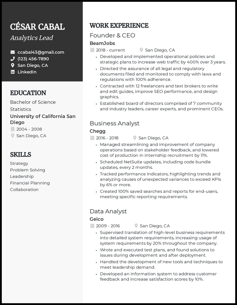 Founder & CEO resume example