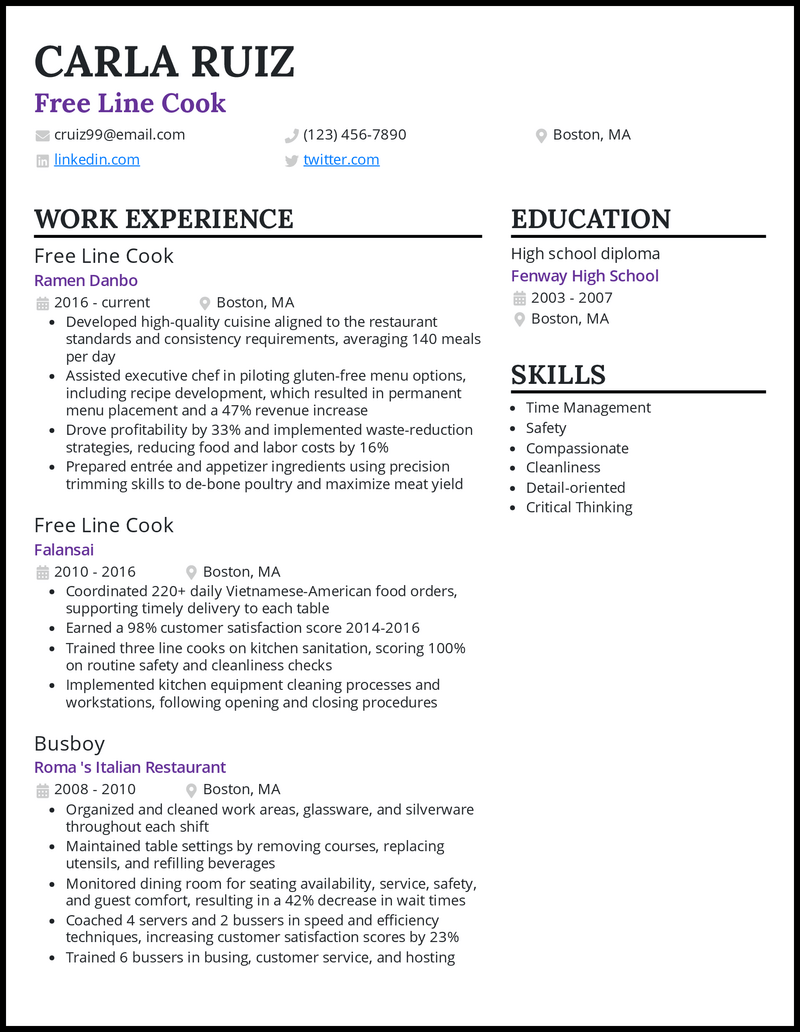Free Line Cook resume example