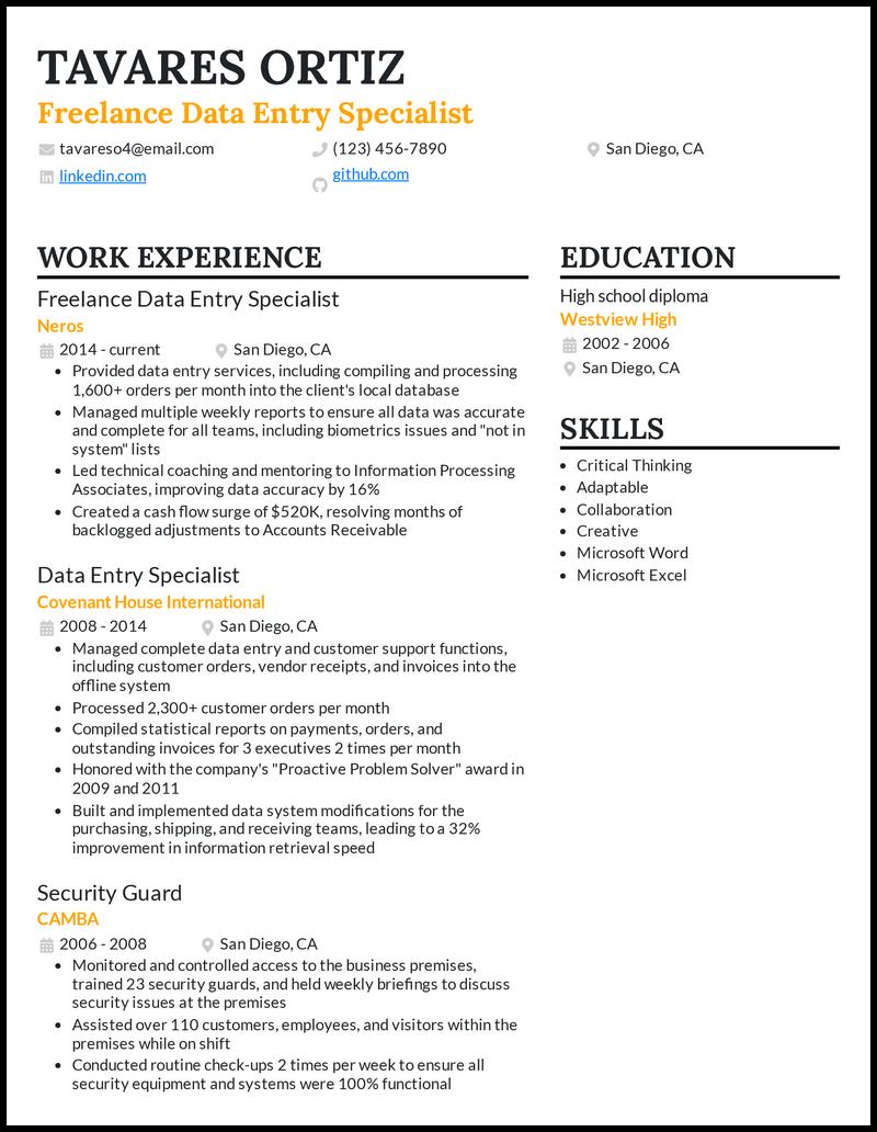 Freelance Data Entry resume example
