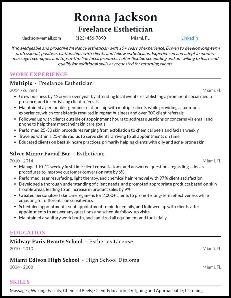 Freelance Esthetician resume example