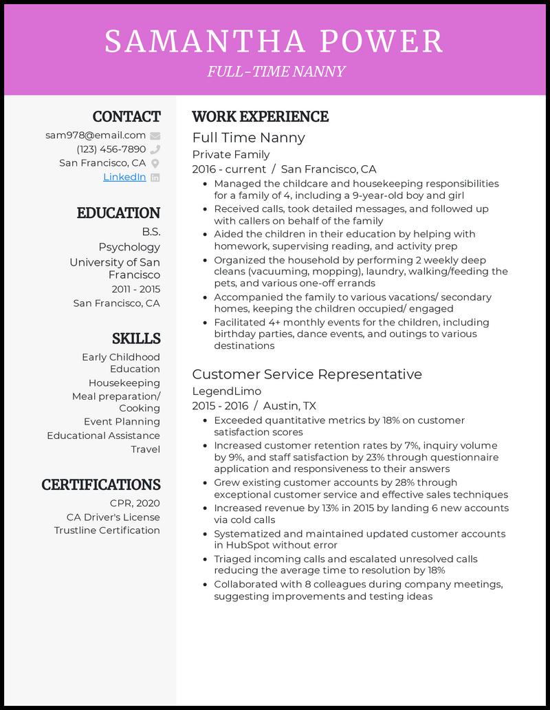 How to make a resume for a nanny dsp homework 1