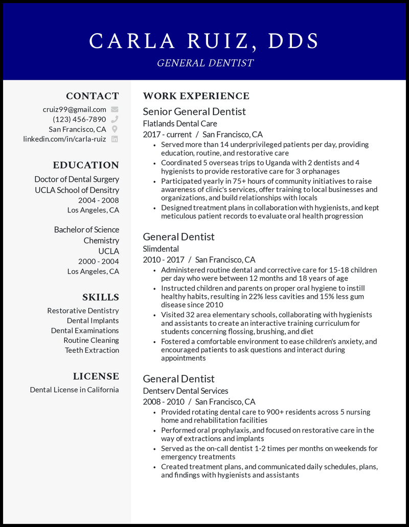 General Dentist resume example