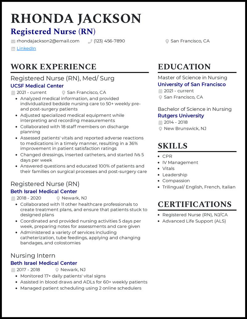 Graduate Nursing Student resume example