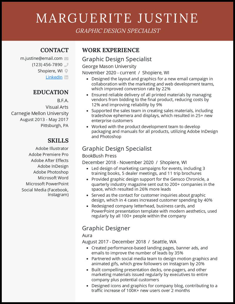 Graphic design resume example