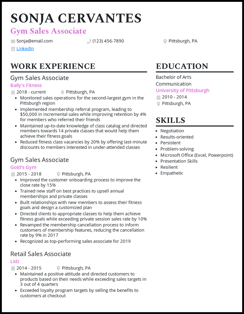 Gym sales associate resume example