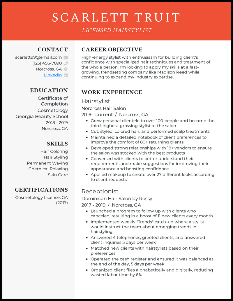 Hairstylist resume example