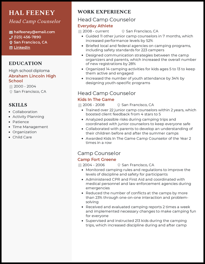 Head Camp Counselor resume example