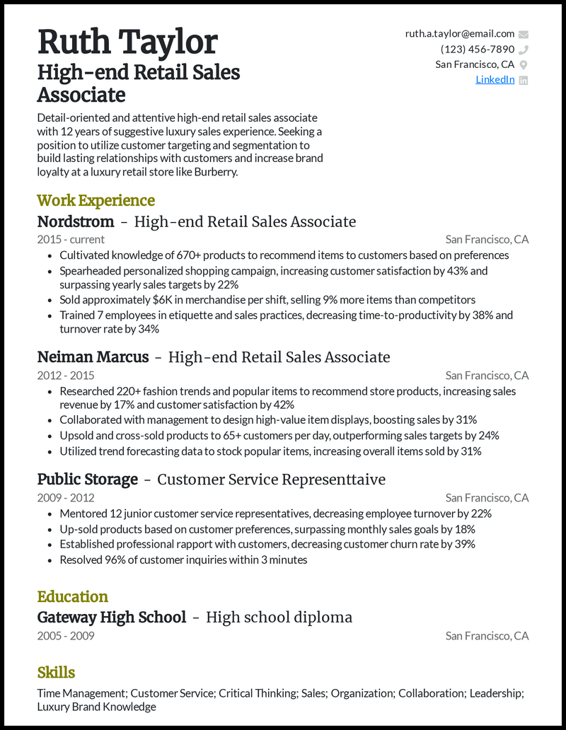 High End Retail Sales Associate resume example