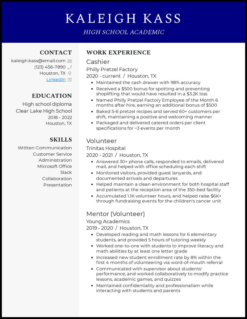 High School Academic resume example