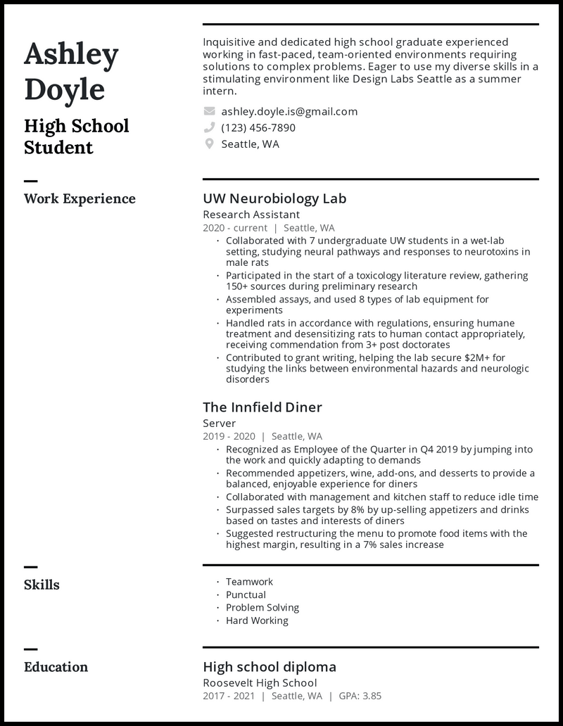 High School Student For College resume example