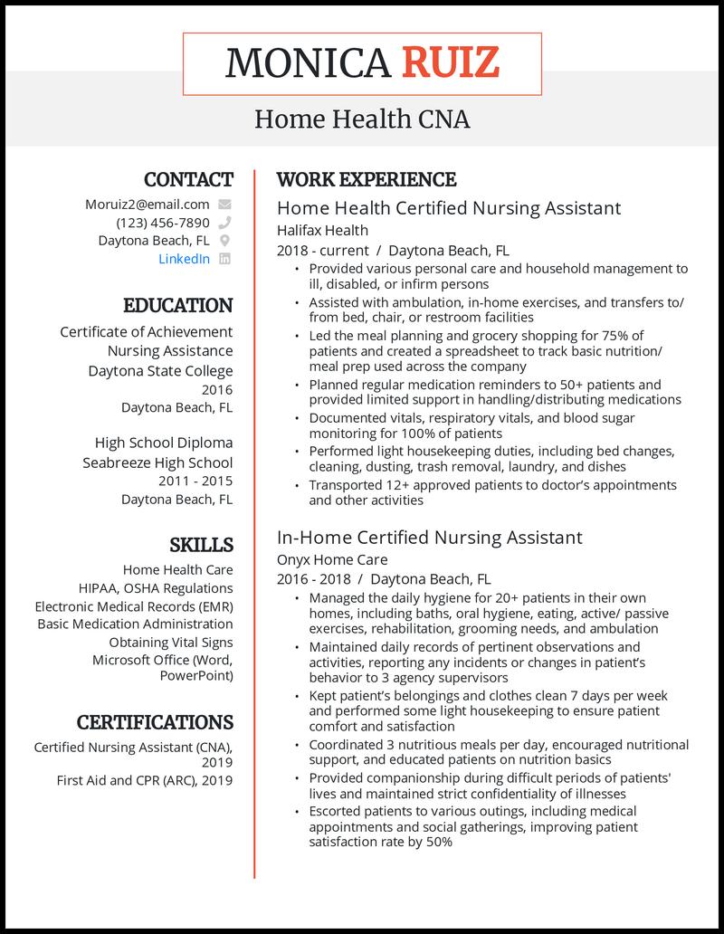 Home health CNA resume example