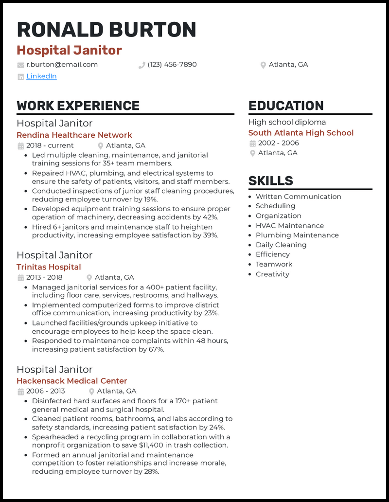 Hospital Janitor resume example