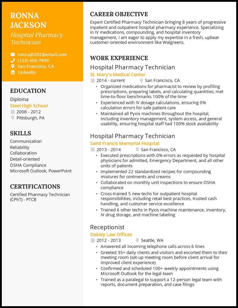 Hospital Pharmacy Technician resume example