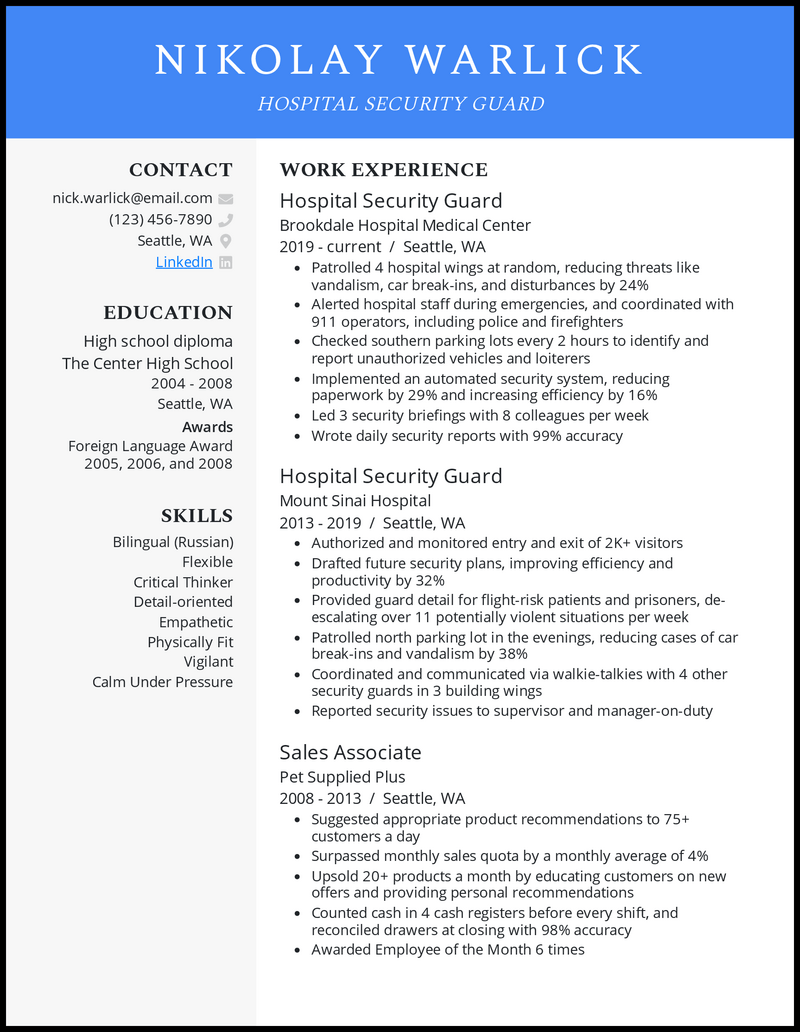 Hospital Security Guard resume example