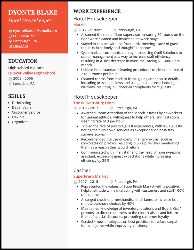Hotel Housekeeping resume example