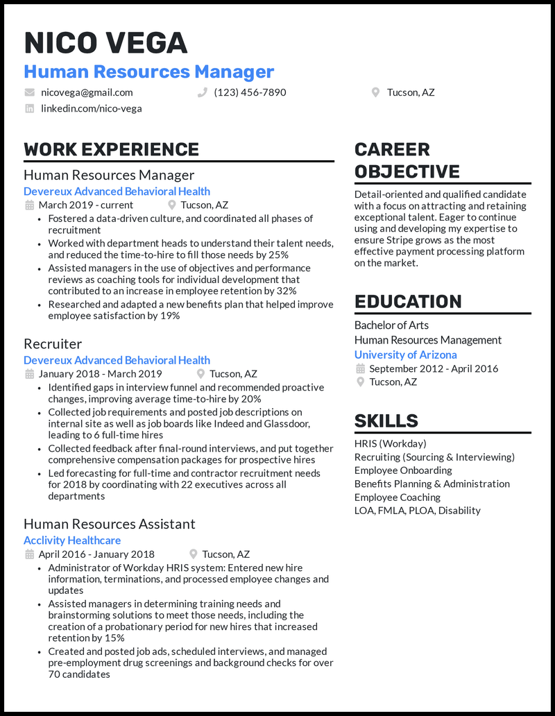 HR Business Partner resume example