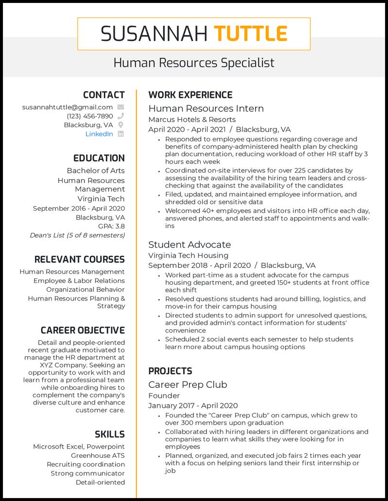 Human Resources College Graduate resume example