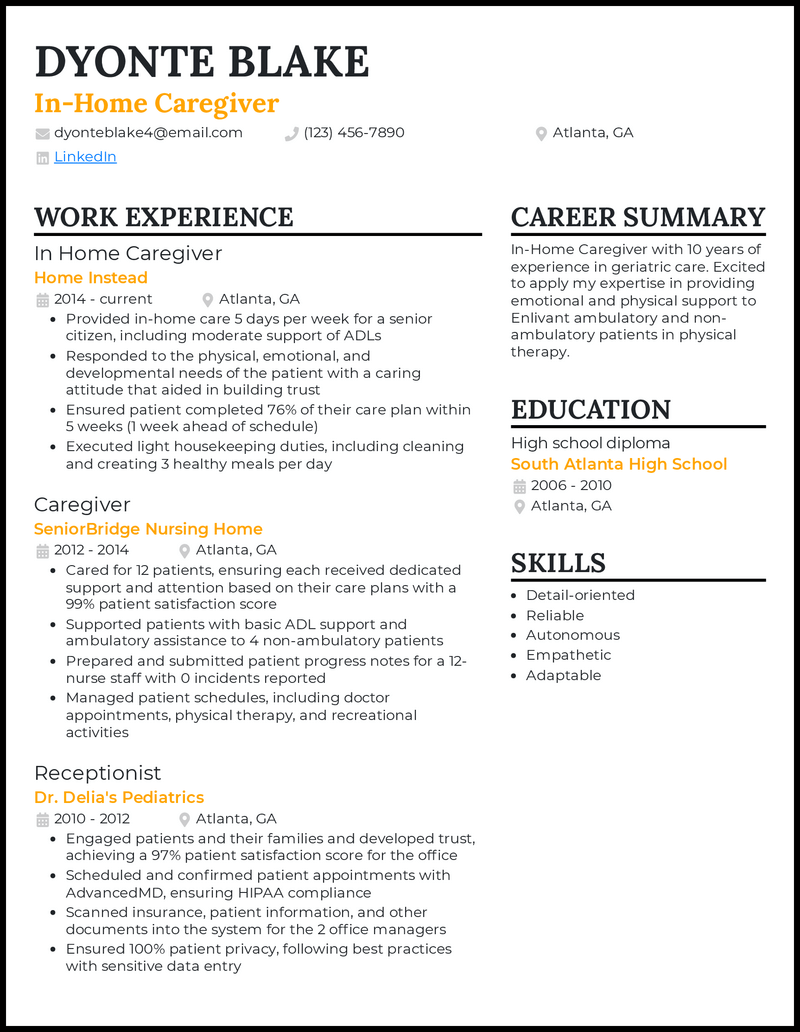 In Home Caregiver resume example