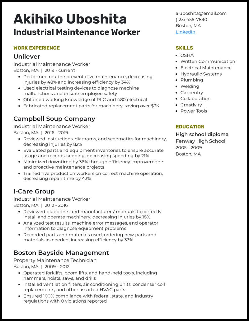 Industrial Maintenance Worker resume example
