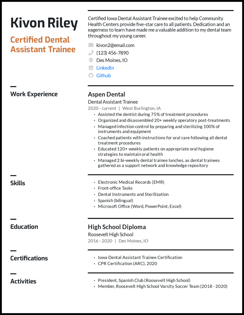 Inexperienced dental assistant resume example