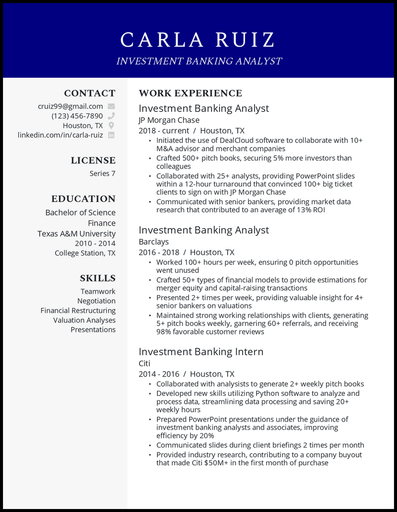 Investment Banking Analyst resume example