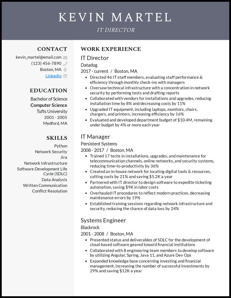 IT Director resume example