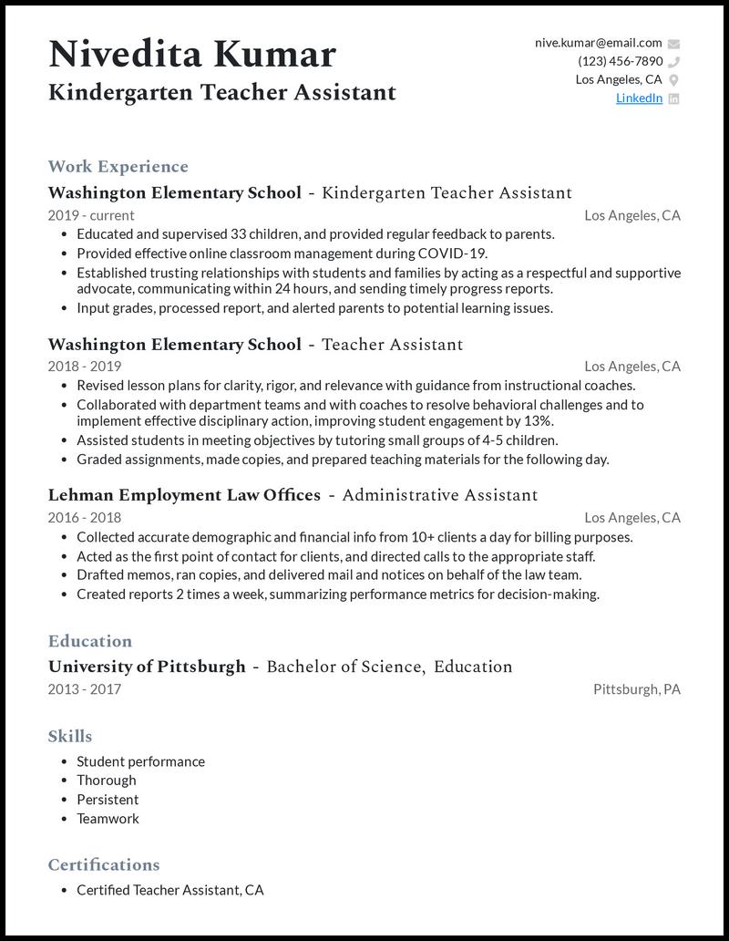 Kindergarten Teacher Assistant resume example