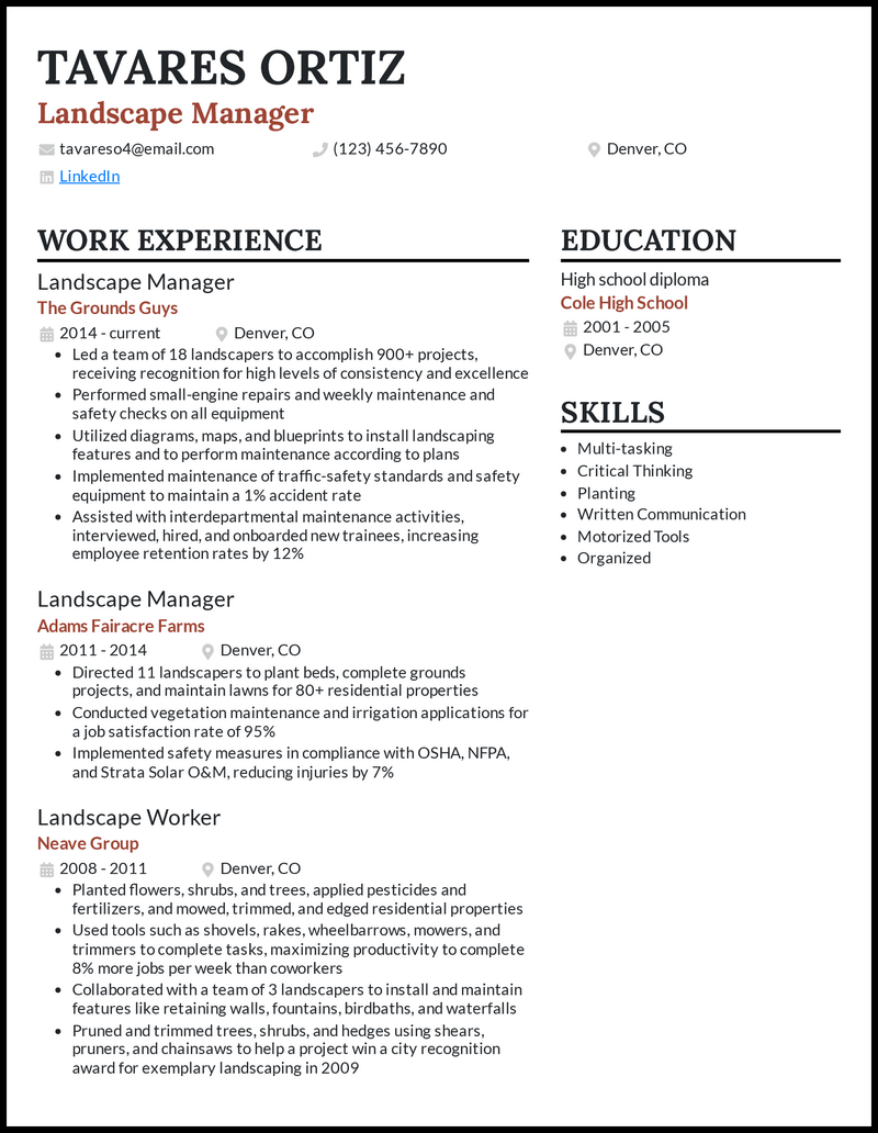 Landscape Manager resume example